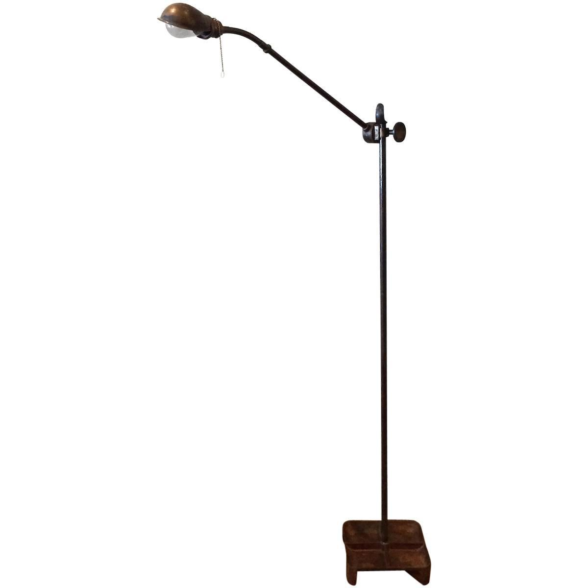 Industrial Extended Gooseneck Floor Lamp With Tray Base At