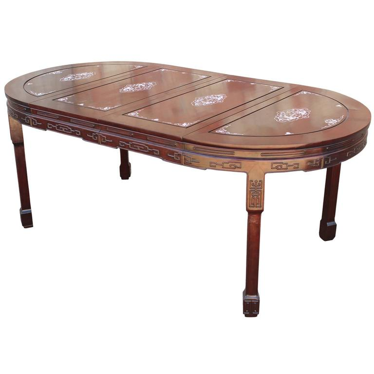 Vintage chinese rosewood and mother of pearl dining table for Oriental furniture for sale
