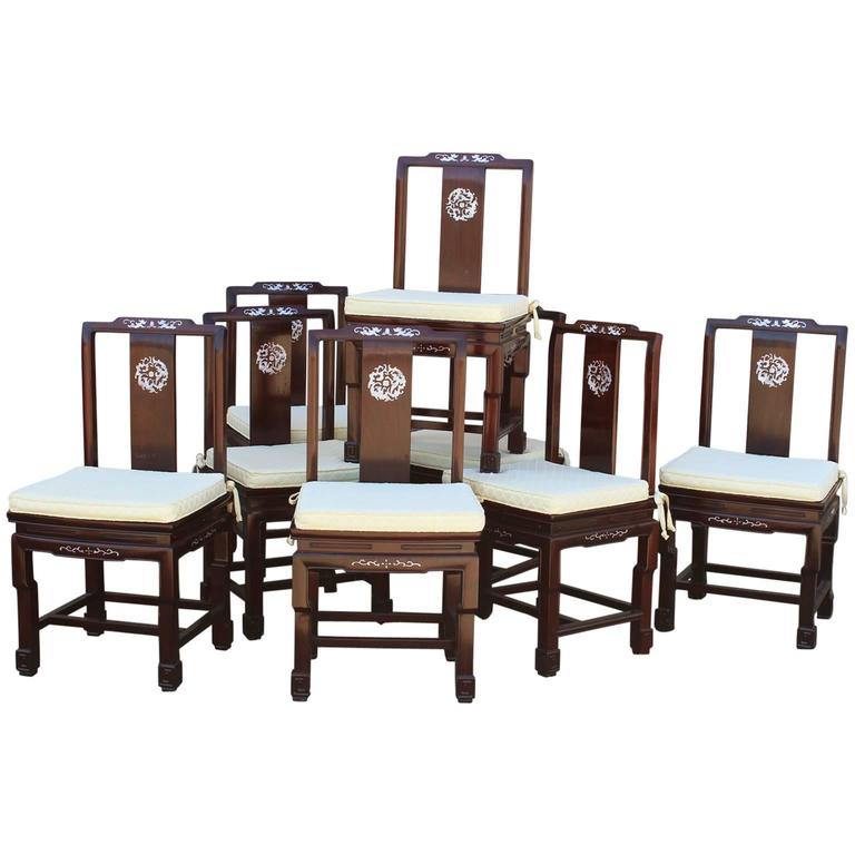Chinese Rosewood And Mother Of Pearl Dining Chairs Vintage Set Eight
