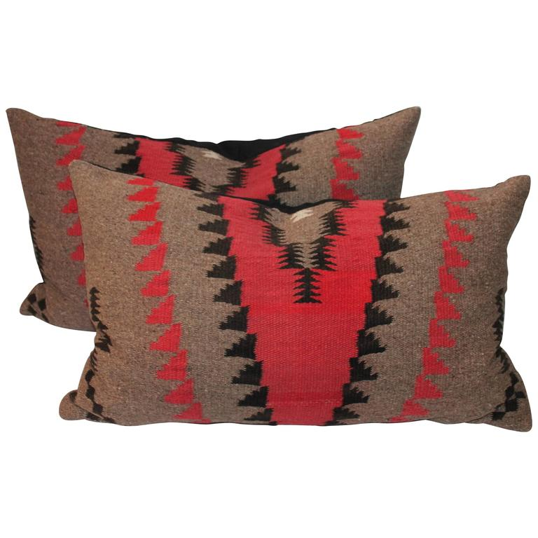 Pair of Geometric  Navajo Indian Weaving Bolster Pillows