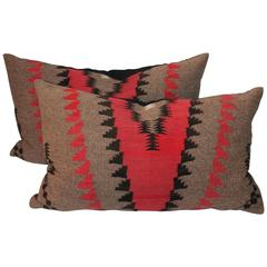 Pair of Geometric  Navajo Indian Weaving Bolster Pillows