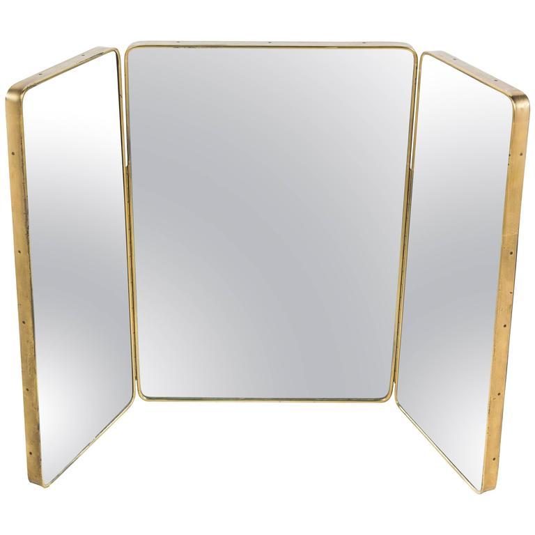 Oversize Italian Brass Tri Fold Mirror At 1stdibs