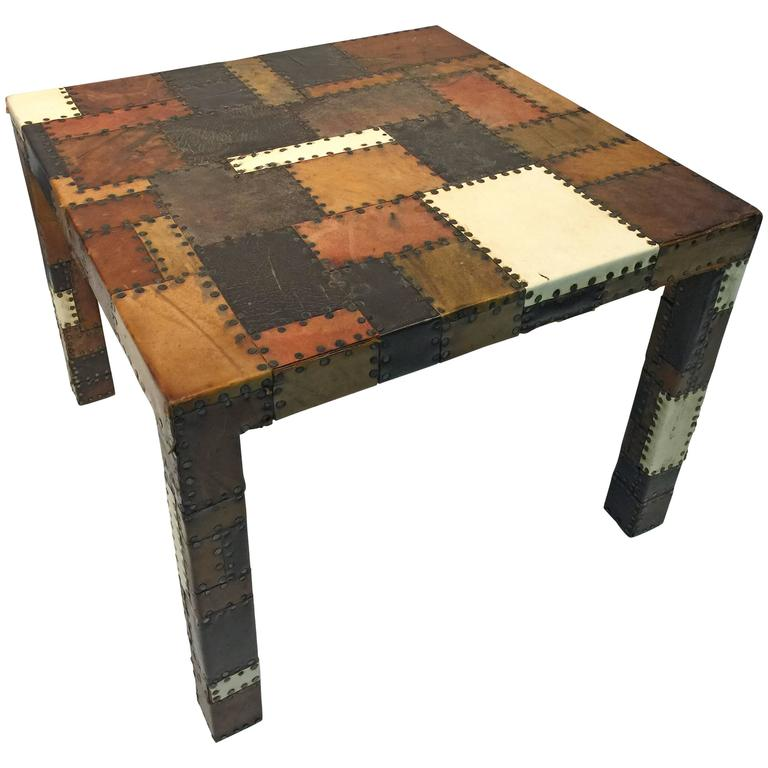 incredible italian leather side or coffee table in the