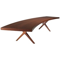 L.E Brevilly Extremely Large Boomerang Shaped Desk, France, circa 1965