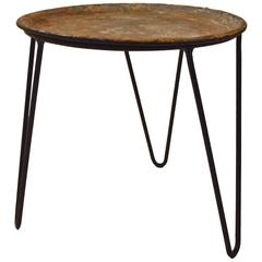 Round Wrought Iron and Zinc Plant Stand Tray Table with Hairpin Legs