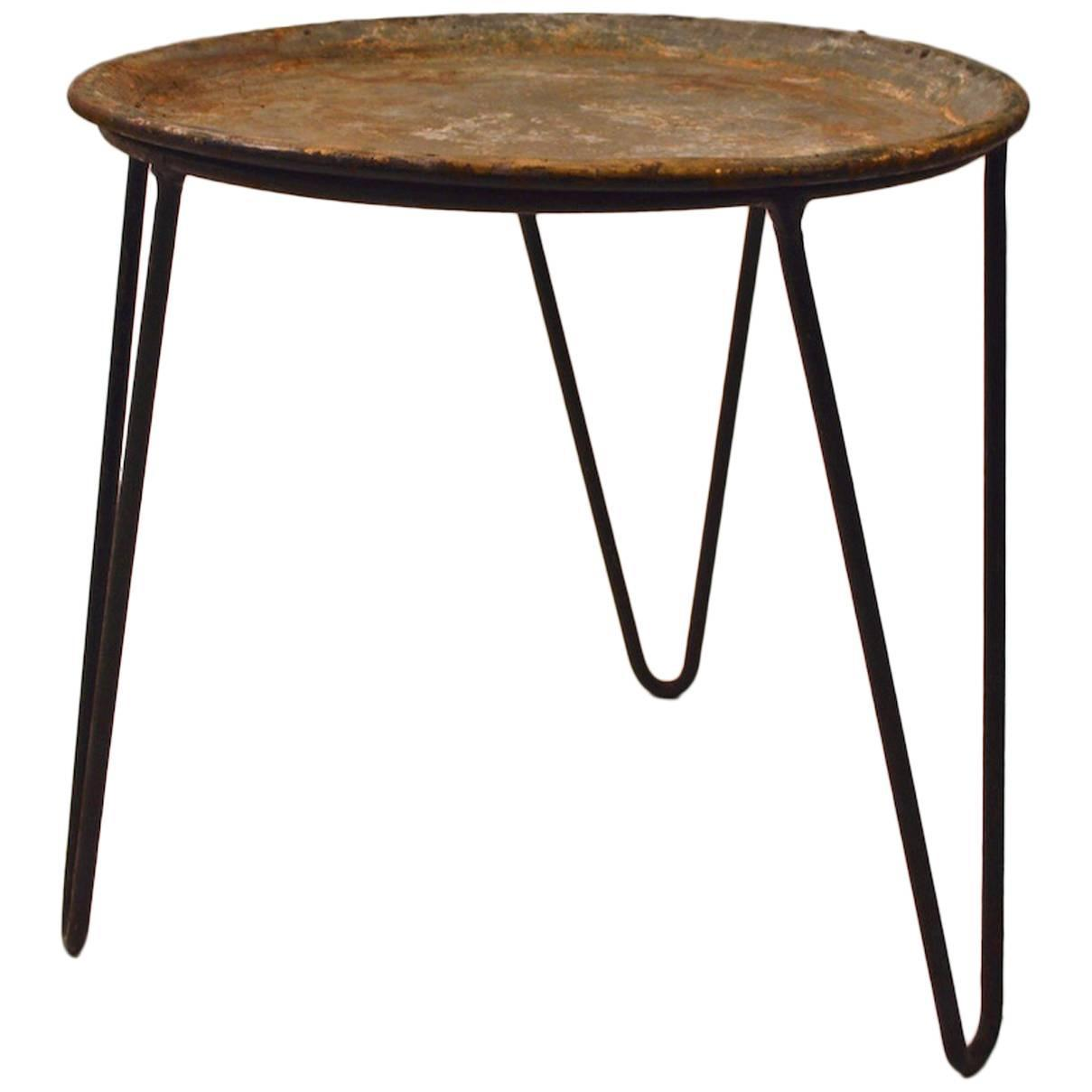 Round Wrought Iron And Zinc Plant Stand Tray Table With
