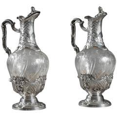 Pair of Cut Crystal Ewers Set in Silver
