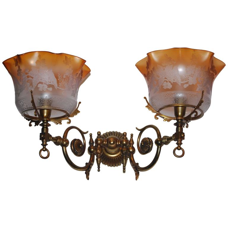 19th century gas wall lights napoleon iii with original etched 19th century gas wall lights napoleon iii with original etched glasses for sale aloadofball Image collections