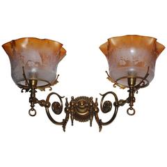 19th Century Gas Wall-Lights Napoleon III with Original Etched Glasses