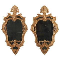 Pair of Giltwood Mirrors in Venetian Style, 19th Century