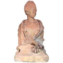 Rare Terra Cotta Large-Sized Sphinx with Head of Woman, 18th Century
