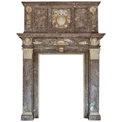 17th Century Monumental Chimneypiece Royal Red and Carera Marble