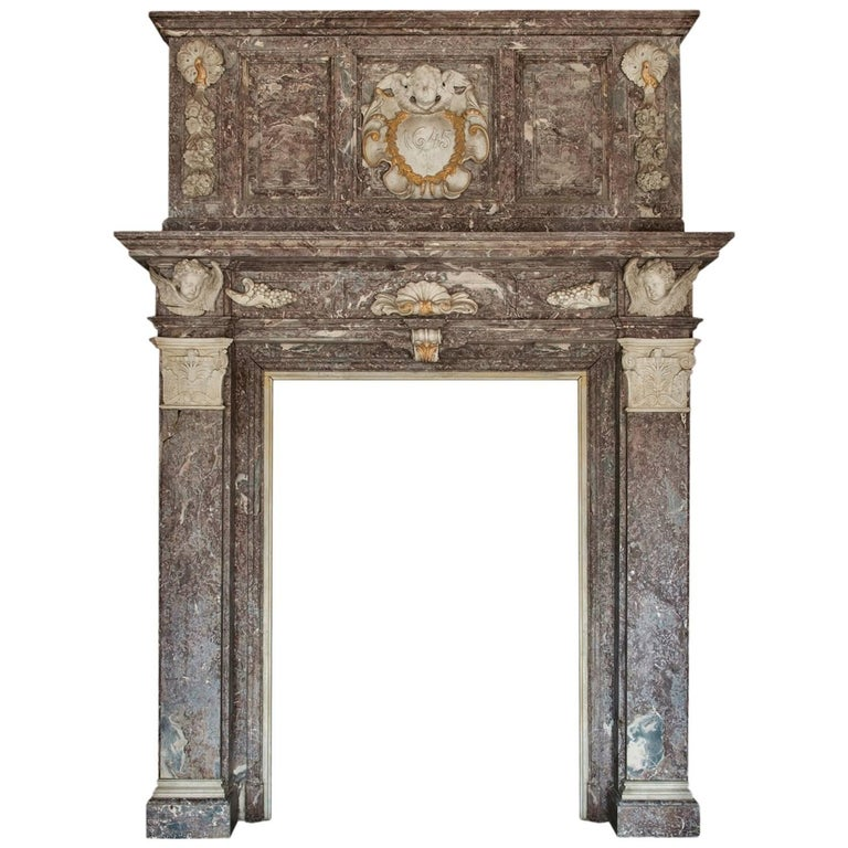 17th Century Monumental Chimneypiece Royal Red and Carera Marble For Sale