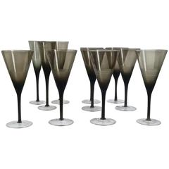 Set of Mid Century Italian Inciso Wine and Champagne Glasses