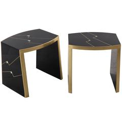 "Ron Seff, Pair of ""Ritz"" Gilt and Lacquer Side Tables, USA, circa 1980"
