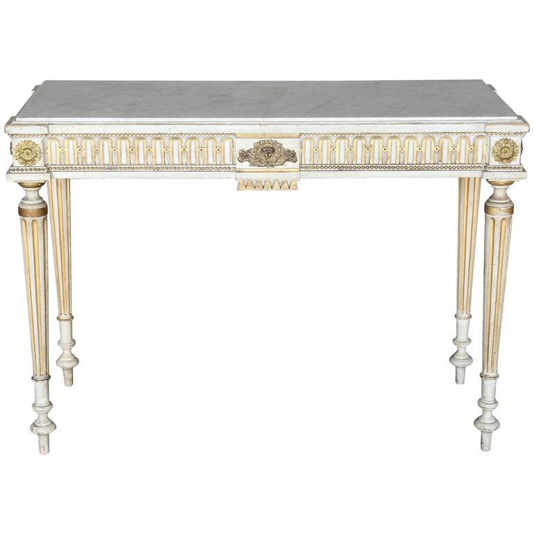Antique Narrow 19th Century French Console with Marble Top For Sale