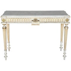Antique Narrow 19th Century French Console with Marble Top