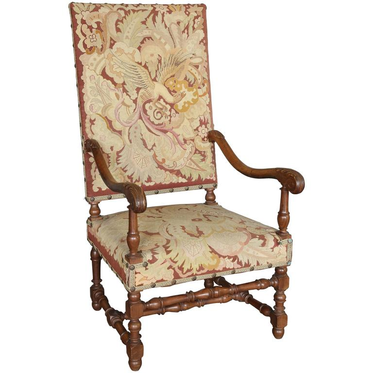 Antique 19th Century Louis XIII Needlepoint Chair For Sale - Antique 19th Century Louis XIII Needlepoint Chair For Sale At 1stdibs