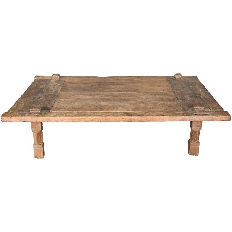 Very Large Antique 19th Century Rustic Teak Coffee Table At 1stdibs