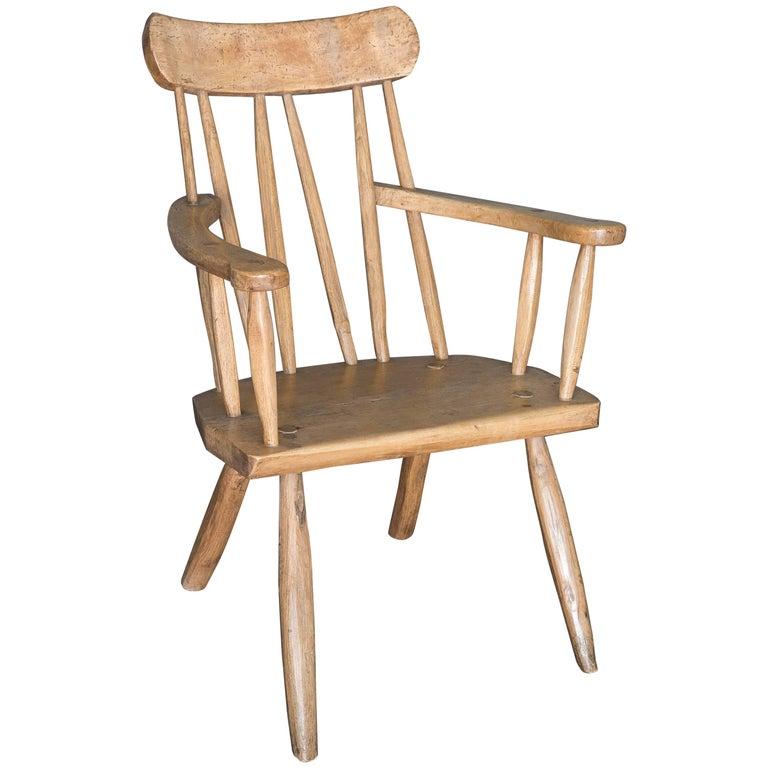 Antique 19th Century English Primitive Welsh Folk Art Stick Chair For Sale
