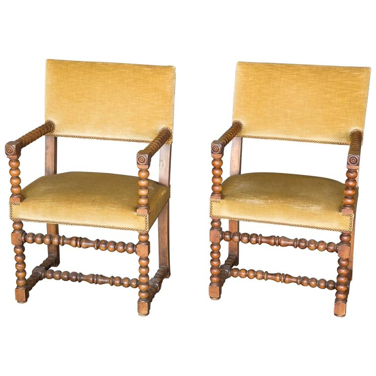 Pair of 19th Century Walnut Bobbin Chairs