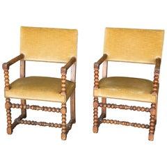 Pair of 19th Century Walnut Bobbin Chairs