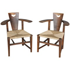 Antique 19th Century Ash Abingwood Chairs by George Walton