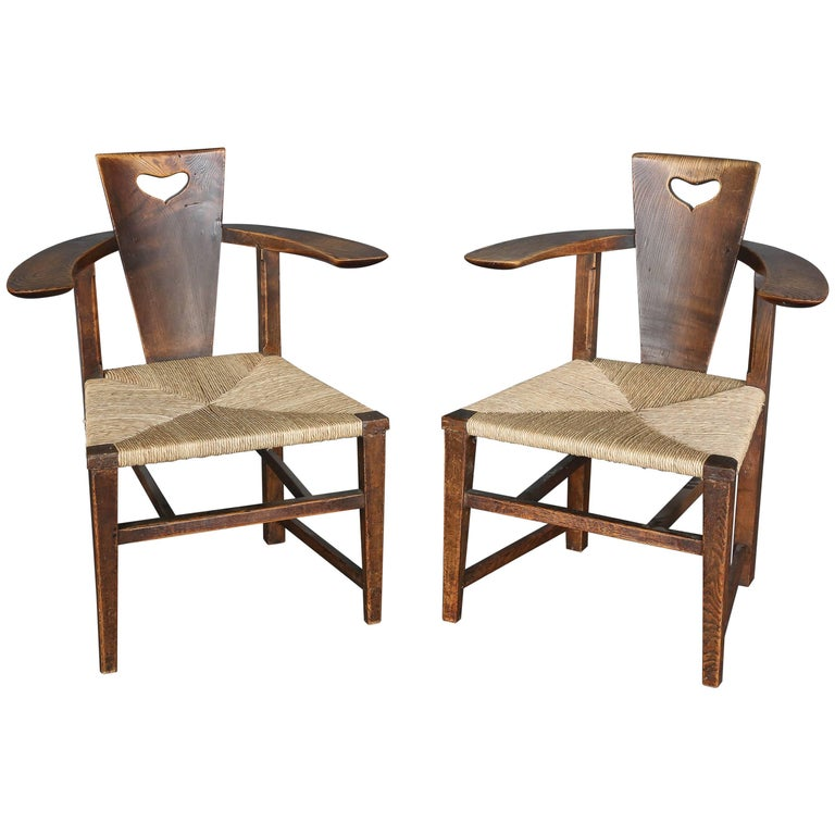 Antique 19th Century Ash Abingwood Chairs by George Walton For Sale