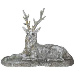 19th Century Cast Stone Majestic Deer