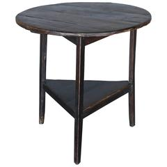 Antique 18th Century Elm Cricket Table with Shelf