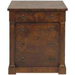 Vintage Neoclassical Style Burl Walnut Side Cabinet
