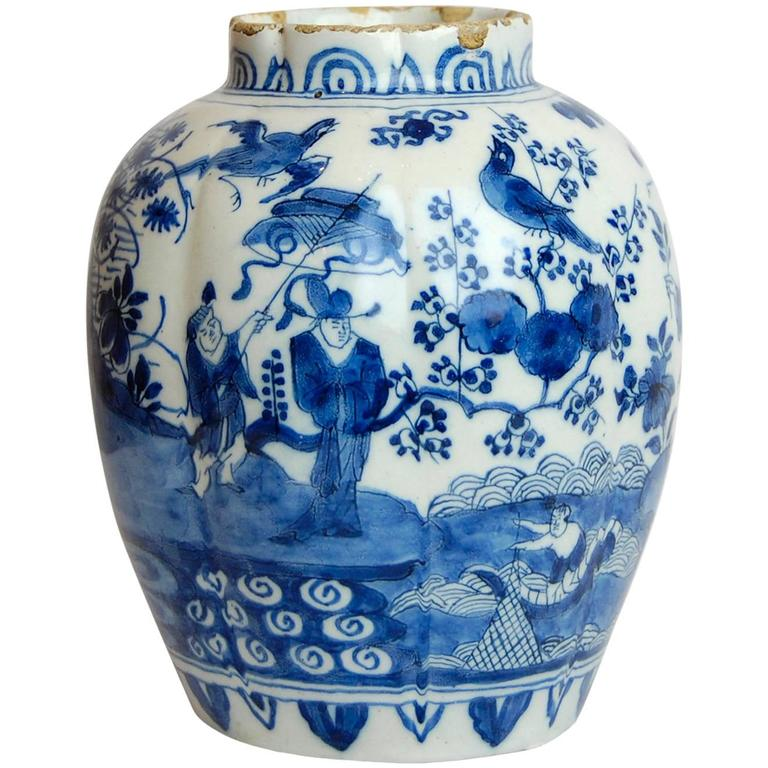 18th Century Dutch Delft Porcelain Vase Blue And White