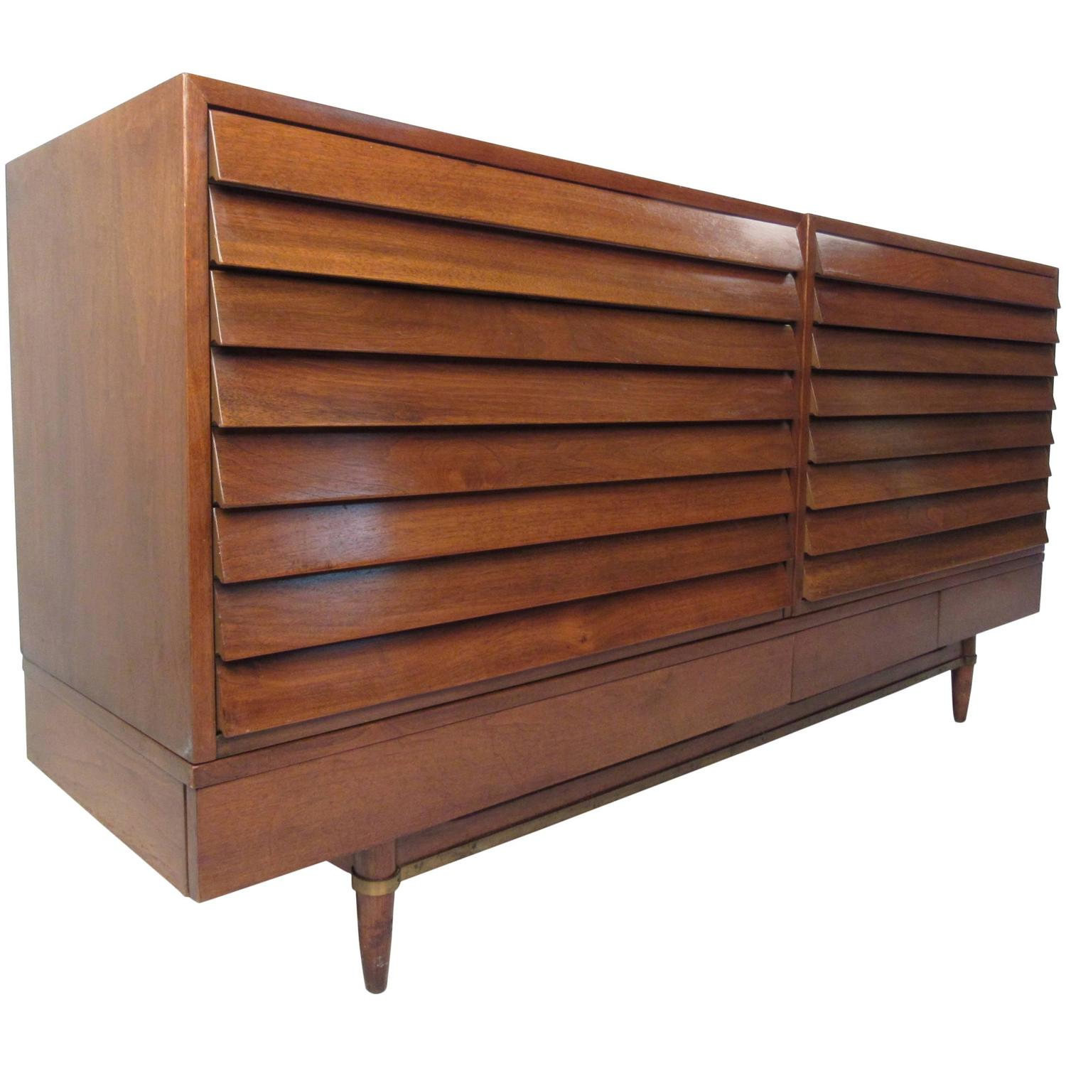Vintage Walnut Louvered Chest of Drawers by American of