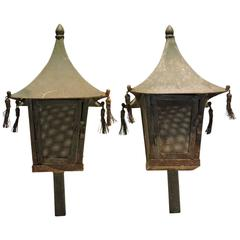 Pair of Tasseled Pagoda Form Candle Lanterns