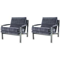 Pair of Cy Mann Chrome Lounge Chairs