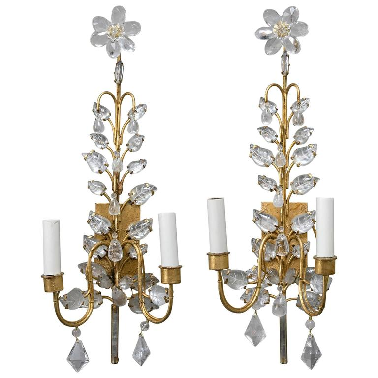 Pair of French Gilt and Crystal Sconces For Sale