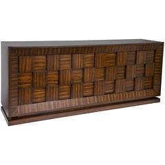 Wood Basket Weave Credenza
