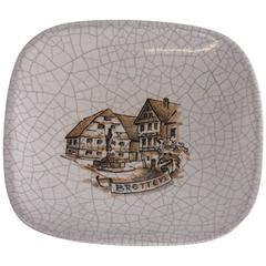 Karlsruhe Majolica Small Bowl or Ashtray Grey Crackled Glaze City Bretten Sketch