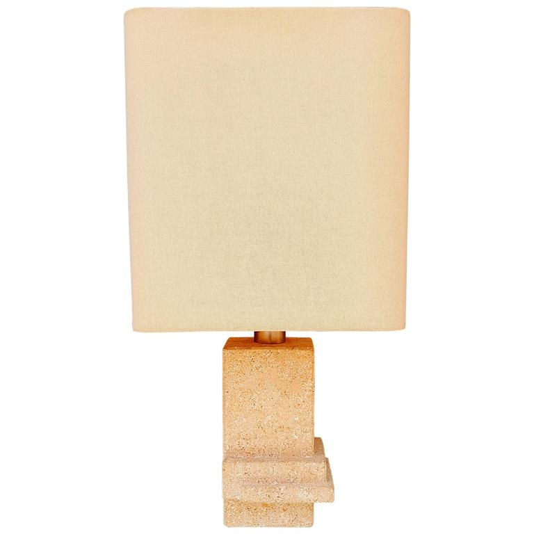 Mid-Century Architectural Stone Table Lamp, 1970s