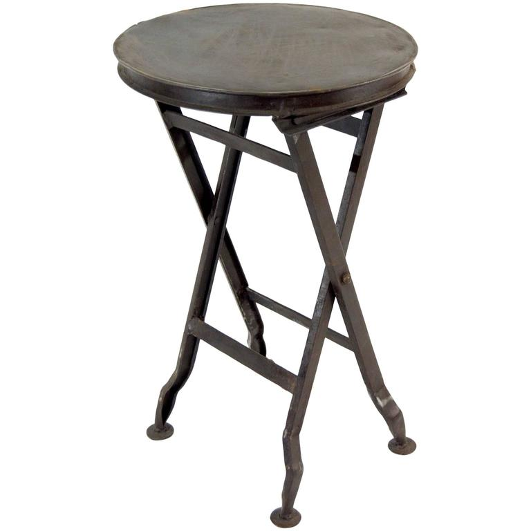Petite Industrial Folding Stool At 1stdibs