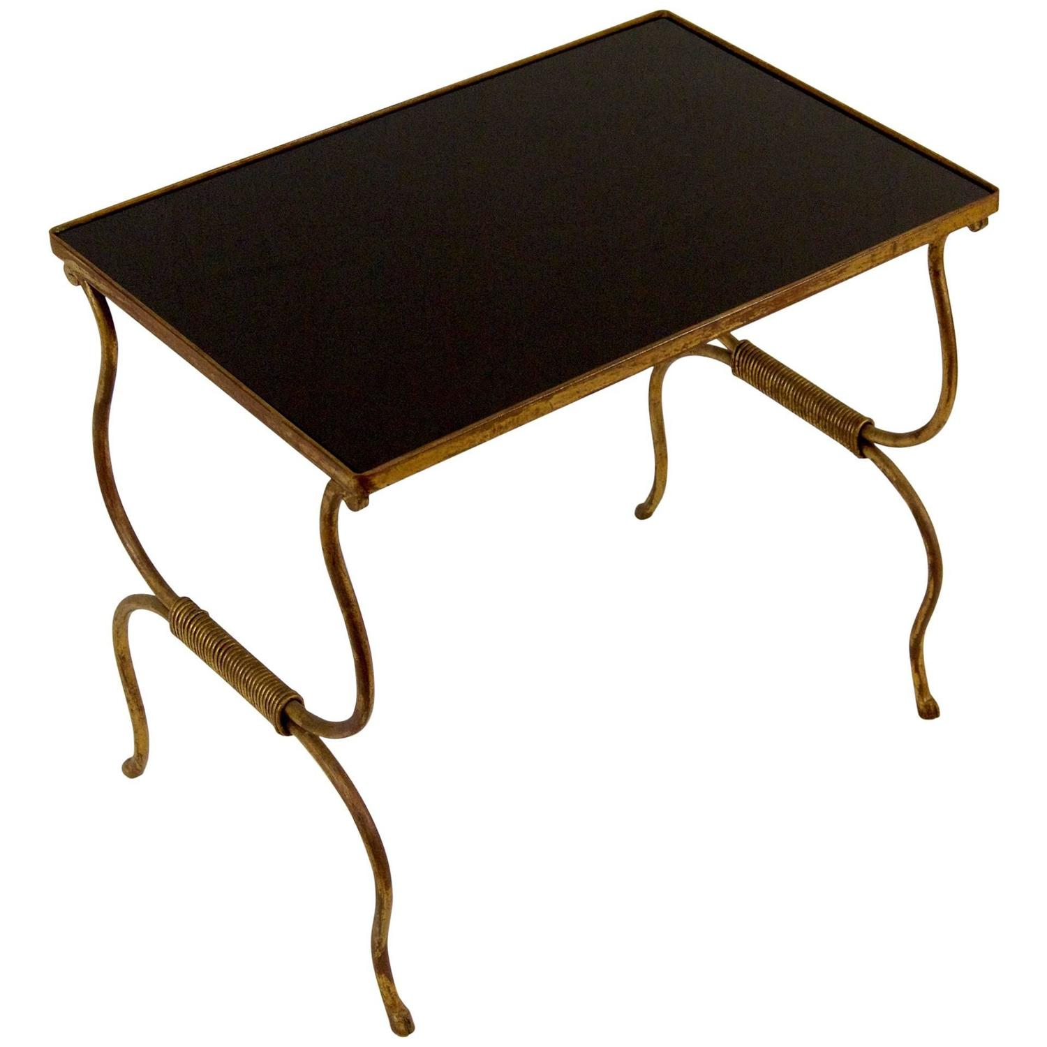 Gilt painted wrought iron occasional table with black for Wrought iron and glass side tables