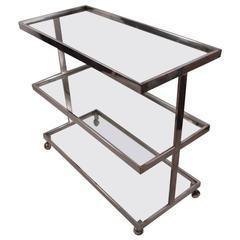 Three-Tier Chrome and Glass Service Bar Cart