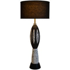 Mid Century Modern Black and White Ceramic Table Lamp, 1950's
