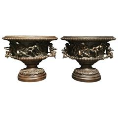 Pair of French Clodion Style Oval Bowls with Cherub Handles