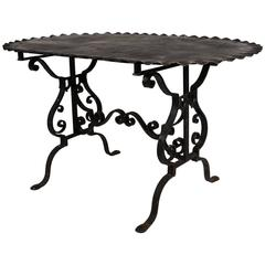 Black Painted Wrought Iron Side Table