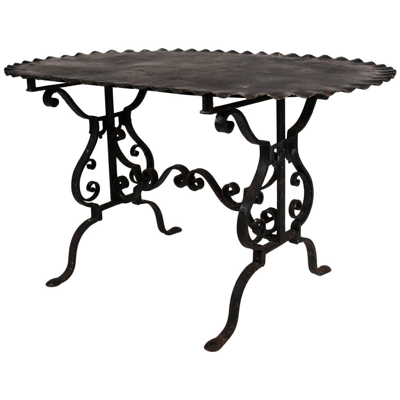 Black painted wrought iron side table for sale at 1stdibs for Wrought iron side table