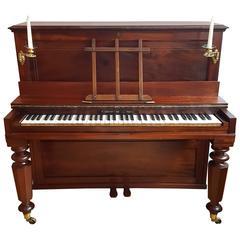 Early Broadwood Upright Piano Mahogany Bronzes Candlesticks Fortepiano
