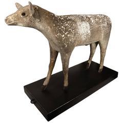 Early Century Lifesize Concrete Deer on a Rolling Steel Platform