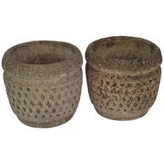 Pair of English Cast Stone Honeycomb Pattern Garden Urns