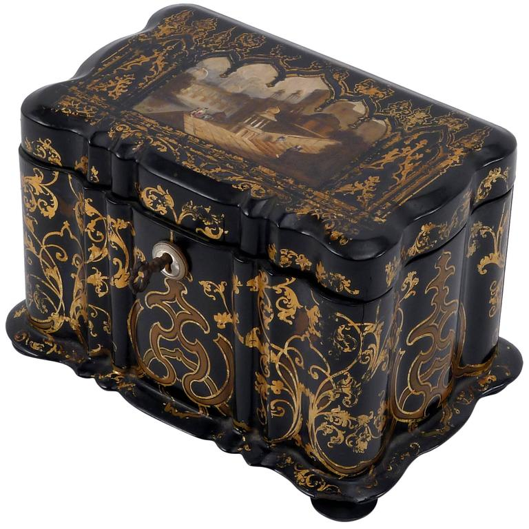 1850s Lacquered Tea Caddy For Sale